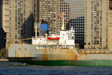 transport ship on the hudson river,ny