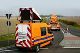 heavy transport with escort vehicle