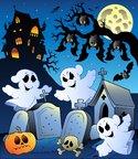 Halloween scenery with cemetery 6