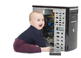 young child with open computer