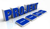 text concept - 3d project blue 3