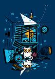 Bandit Cat. Vandal, murderer and perjurer. Vector Illustration