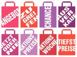 shopping bags with slogans - indemnified vector illustrations