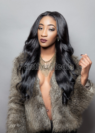 Beautiful Black Woman With Long Curly Hair Stock Photos