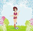 sexy girl playing football