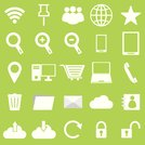 Internet icons on green background