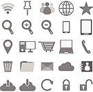 Internet icons on white background