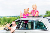 family travels by car in the summer holidays