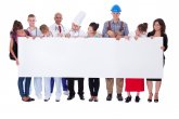 Group of diverse professional people with a banner