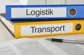 file folders labeled logistics and transportation