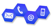 Website and Internet contact us page concept with icons