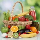 fruits,vegetables,drinks,vegetarian food purchases in the basket
