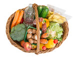 shopping basket with food fruits and vegetables.