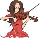 woman playing violin illustration