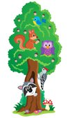 Tree with various animals theme 1