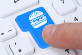 hamburger cheeseburger eat fast food order online and provide delivery service on the internet