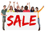 sale offer shopping multicultural group of young people people holding sign