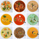 collage soup soups healthy food eat tomato soup vegetables on spoon