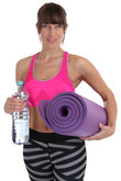 exercise mat fitness woman with water sports workouts