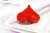 red heart with fork. valentine dinner / love food / love cooking etc. copy space.