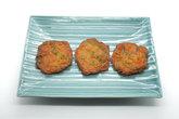 Fried fish patty, spicy fish ball on ceramic dish, thai food