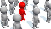 stand out from the crowd-red 3d people between grey people