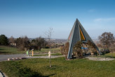 Pyramidal resting place at the cycle trail in the spa town of Bad Sauerbrunn in Austria.