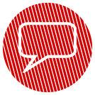 Striped circle communication symbol