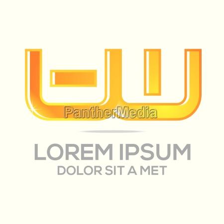 business creative letter uw company logo design icon stock photos