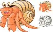 High Quality Hermit Crab Cartoon Character Include Flat Design and Line Art Version Vector Illustration