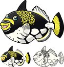 High Quality Trigger Fish Cartoon Character Include Flat Design and Line Art Version Vector Illustration