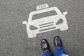 man man taxi car plate logo vehicle street urban transport mobility