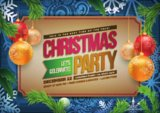 Vector Christmas Party poster design template. Christmas related ornaments objects on color background.
