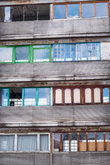 Soviet architecture old building with different windows