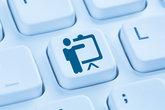 training training learn coaching education workshop online internet blue computer keyboard