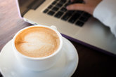 Woman serve the internet at coffee shop