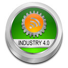 green Industry 4.0 button - 3D illustration