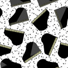 Black Grand Piano Seamless Pattern with Musical Notes