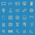 Education line color icons on blue background