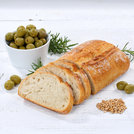 ciabatta bread with olives food square on wooden plate