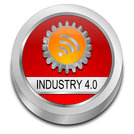 red orange Industry 4.0 button - 3D illustration
