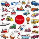cartoon transportation vehicle characters big set