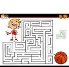 cartoon maze activity with boy and basketball