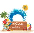 Summer holidays with macaw relaxing on the beach