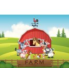 Illustration Farm background with animals