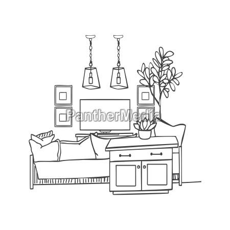 interior design illustration sketch modern white living room trendy
