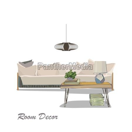 interior design illustration modern white living room trendy style