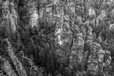 Landscapes of Saxon Switzerland - is the German part of Elbe Sandstone Mountains. Black and white.