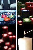 group of lifestyle images of assorted candles arrangements