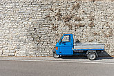 Blue, small transport vehicle